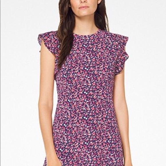 fee45e80352 Michael Michael Kors Floral Flounce Sleeve Dress